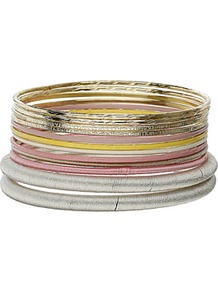 Pastel Pink Metal Bangle Pack - secondary colour: silver; predominant colour: gold; occasions: casual, evening, work, holiday; style: bangle; size: standard; material: chain/metal; trends: metallics; finish: metallic