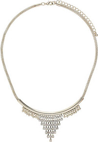 Crystal Stone Chain Necklace - secondary colour: silver; predominant colour: gold; occasions: evening, occasion, holiday; style: choker/collar; length: short; size: standard; material: chain/metal; trends: metallics; finish: metallic; embellishment: chain/metal