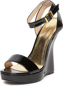 Timeless Black Curved Wedge Sandals - predominant colour: black; occasions: evening, work, occasion, holiday; material: faux leather; ankle detail: ankle strap; heel: wedge; toe: open toe/peeptoe; style: strappy; finish: plain; pattern: plain; heel height: very high