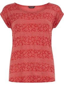Red Lace Stripe Tee - style: t-shirt; predominant colour: true red; occasions: casual, holiday; length: standard; fibres: polyester/polyamide - stretch; fit: body skimming; neckline: crew; sleeve length: short sleeve; sleeve style: standard; pattern type: fabric; pattern size: small &amp; busy; pattern: patterned/print; texture group: jersey - stretchy/drapey