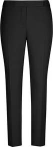 Joanna Zac Straight Leg Trousers - pattern: plain; waist: mid/regular rise; predominant colour: black; occasions: evening, work; length: ankle length; fibres: cotton - stretch; fit: slim leg; pattern type: fabric; texture group: woven light midweight; style: standard