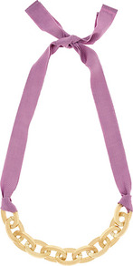 Elodie Chunky Chain Necklace - predominant colour: lilac; secondary colour: gold; occasions: evening, work, occasion, holiday; style: standard; length: short; size: standard; material: chain/metal; finish: metallic; embellishment: ribbon