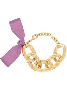 Adrienne Chunky Chain Bracelet - secondary colour: lilac; predominant colour: gold; occasions: evening, holiday; style: chain; size: large/oversized; material: chain/metal; finish: plain; embellishment: bow