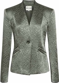 Yenes Jacquard Jacket - pattern: plain; style: single breasted blazer; collar: shawl/waterfall; predominant colour: sage; occasions: casual, evening, work, occasion; length: standard; fit: tailored/fitted; fibres: polyester/polyamide - mix; sleeve length: long sleeve; sleeve style: standard; collar break: medium; pattern type: fabric; texture group: brocade/jacquard