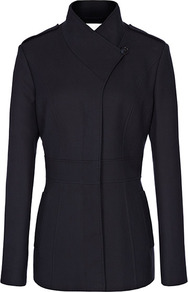 Pearla Nipped Waist Panelled Coat - pattern: plain; length: below the bottom; style: single breasted; collar: high neck; predominant colour: navy; occasions: casual, work; fit: tailored/fitted; fibres: cotton - 100%; shoulder detail: discreet epaulette; sleeve length: long sleeve; sleeve style: standard; collar break: high; pattern type: fabric; texture group: woven bulky/heavy