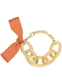 Adrienne Chunky Chain Bracelet - secondary colour: bright orange; predominant colour: gold; occasions: casual, evening, holiday; style: chain; size: large/oversized; material: chain/metal; finish: plain; embellishment: bow