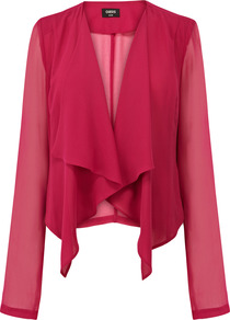 Soft Blouse Jacket - pattern: plain; style: single breasted blazer; collar: shawl/waterfall; predominant colour: hot pink; occasions: casual, evening, occasion; length: standard; fit: tailored/fitted; fibres: polyester/polyamide - 100%; sleeve length: long sleeve; sleeve style: standard; texture group: sheer fabrics/chiffon/organza etc.; collar break: low/open; pattern type: fabric