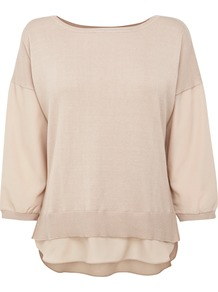 Mixed Fabric Sweater - neckline: round neck; pattern: plain; style: standard; predominant colour: nude; occasions: casual; length: standard; fibres: cotton - mix; fit: standard fit; back detail: longer hem at back than at front; sleeve length: 3/4 length; sleeve style: standard; texture group: knits/crochet; pattern type: knitted - fine stitch