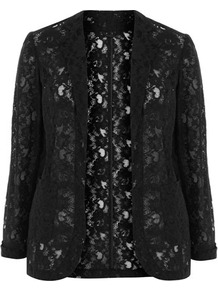 Black Lace Jacket - pattern: plain; style: single breasted blazer; collar: shawl/waterfall; fit: loose; predominant colour: black; occasions: casual, evening, occasion; length: standard; fibres: cotton - mix; sleeve length: long sleeve; sleeve style: standard; texture group: lace; collar break: low/open; pattern type: fabric