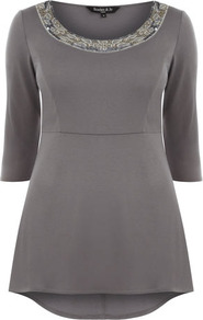 Scarlett & Jo Grey Peplum Embellished Top - neckline: round neck; pattern: plain; bust detail: added detail/embellishment at bust; length: below the bottom; waist detail: peplum waist detail; predominant colour: taupe; occasions: casual, evening, work; style: top; fibres: polyester/polyamide - mix; fit: body skimming; back detail: longer hem at back than at front; sleeve length: half sleeve; sleeve style: standard; pattern type: fabric; texture group: jersey - stretchy/drapey; embellishment: beading