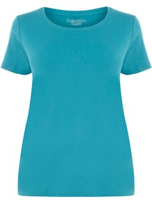 Turquoise Cotton T Shirt - neckline: round neck; pattern: plain; style: t-shirt; predominant colour: turquoise; occasions: casual; length: standard; fibres: cotton - 100%; fit: body skimming; sleeve length: short sleeve; sleeve style: standard; pattern type: fabric; texture group: jersey - stretchy/drapey