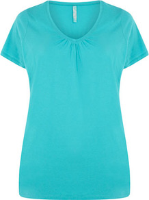 Turquoise V Neck T Shirt - neckline: v-neck; pattern: plain; style: t-shirt; predominant colour: turquoise; occasions: casual, holiday; length: standard; fibres: cotton - 100%; fit: body skimming; sleeve length: short sleeve; sleeve style: standard; pattern type: fabric; texture group: jersey - stretchy/drapey