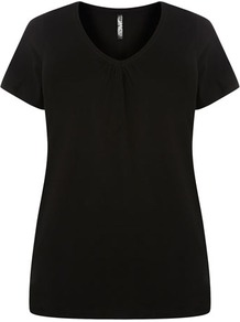 Black V Neck T Shirt - neckline: v-neck; pattern: plain; style: t-shirt; predominant colour: black; occasions: casual, holiday; length: standard; fibres: cotton - 100%; fit: body skimming; sleeve length: short sleeve; sleeve style: standard; pattern type: fabric; texture group: jersey - stretchy/drapey