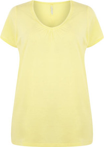 Yellow V Neck T Shirt - neckline: v-neck; pattern: plain; length: below the bottom; style: t-shirt; predominant colour: primrose yellow; occasions: casual; fibres: cotton - 100%; fit: body skimming; sleeve length: short sleeve; sleeve style: standard; pattern type: fabric; texture group: jersey - stretchy/drapey