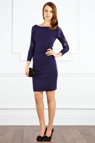 Dionne Dress - style: shift; length: mid thigh; neckline: slash/boat neckline; pattern: plain; hip detail: fitted at hip; shoulder detail: contrast pattern/fabric at shoulder; predominant colour: purple; occasions: evening, occasion; fit: body skimming; fibres: viscose/rayon - stretch; sleeve length: 3/4 length; sleeve style: standard; pattern type: fabric; texture group: jersey - stretchy/drapey; embellishment: lace