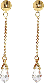 Gold Plated Swarovski Crystal Chain Drop Clip Earrings - predominant colour: gold; occasions: evening, occasion; style: drop; length: long; size: large/oversized; material: chain/metal; fastening: pierced; trends: metallics; finish: metallic; embellishment: crystals