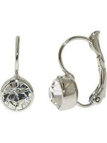 Rhodium Plated Swarovski Crystal Leverback Earrings, Silver - predominant colour: silver; occasions: evening, work, occasion, holiday; style: drop; length: short; size: small; material: chain/metal; fastening: pierced; trends: metallics; finish: metallic; embellishment: crystals