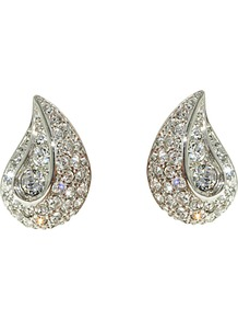 Rhodium Plated Swarovski Crystal Teardrop Earrings, Silver - predominant colour: silver; occasions: evening, occasion; style: stud; length: short; size: small/fine; material: chain/metal; fastening: pierced; trends: metallics; finish: metallic; embellishment: crystals