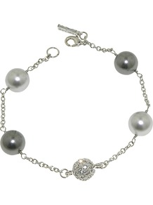 Rhodium Plated Pearl And Pave Swarovski Ball Bracelet, Silver - predominant colour: silver; occasions: evening, work, occasion; style: chain; size: small/fine; material: chain/metal; finish: metallic; embellishment: pearls