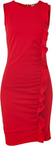 Scarlet Melodico Sheath Dress - style: shift; pattern: plain; sleeve style: sleeveless; waist detail: twist front waist detail/nipped in at waist on one side/soft pleats/draping/ruching/gathering waist detail; predominant colour: true red; occasions: evening, occasion; length: just above the knee; fit: body skimming; neckline: crew; sleeve length: sleeveless; texture group: cotton feel fabrics; trends: glamorous day shifts; bust detail: tiers/frills/bulky drapes/pleats; pattern type: fabric; fibres: viscose/rayon - mix