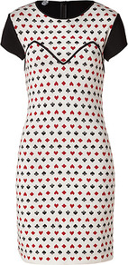 Black/White/Red Wool Playing Card Mitteza Dress - style: shift; length: mid thigh; fit: tailored/fitted; predominant colour: white; secondary colour: true red; occasions: evening, work; fibres: wool - 100%; neckline: crew; sleeve length: short sleeve; sleeve style: standard; texture group: cotton feel fabrics; trends: glamorous day shifts; pattern type: fabric; pattern size: small & busy; pattern: patterned/print