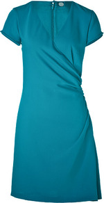Turquoise Narcissia Dress - style: faux wrap/wrap; length: mid thigh; neckline: v-neck; fit: fitted at waist; pattern: plain; waist detail: twist front waist detail/nipped in at waist on one side/soft pleats/draping/ruching/gathering waist detail; predominant colour: turquoise; occasions: evening, work, occasion; fibres: polyester/polyamide - 100%; sleeve length: short sleeve; sleeve style: standard; texture group: cotton feel fabrics; trends: glamorous day shifts; pattern type: fabric