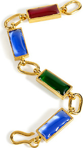 Gold Plated Retro Bracelet With Colored Glass Stones - occasions: evening, occasion; predominant colour: multicoloured; style: chain; size: standard; material: chain/metal; embellishment: crystals