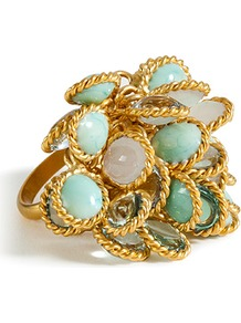 Gold Plated Ring With Pastel Colored Glass Stones - predominant colour: gold; occasions: evening, occasion; style: cocktail; size: large/oversized; material: chain/metal; embellishment: jewels