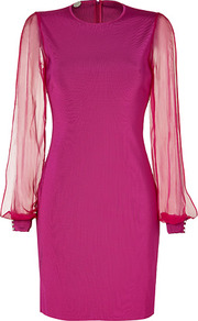 Fuchsia Knit Myrrhe Combo Dress - style: shift; length: mid thigh; fit: tailored/fitted; pattern: plain; sleeve style: balloon; shoulder detail: contrast pattern/fabric at shoulder; predominant colour: magenta; occasions: evening, occasion; fibres: viscose/rayon - 100%; neckline: crew; sleeve length: long sleeve; texture group: structured shiny - satin/tafetta/silk etc.; pattern type: fabric