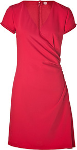 Cherry Red Narcissia Dress - style: faux wrap/wrap; neckline: low v-neck; fit: tailored/fitted; pattern: plain; waist detail: fitted waist; predominant colour: hot pink; occasions: evening, work, occasion; length: just above the knee; fibres: polyester/polyamide - 100%; sleeve length: short sleeve; sleeve style: standard; trends: glamorous day shifts; pattern type: fabric; texture group: other - light to midweight