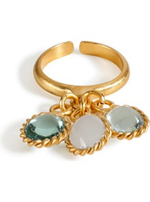 Gold Plated Ring With Three Pastel Colored Glass Stones - secondary colour: pistachio; predominant colour: gold; occasions: evening, work, occasion, holiday; style: cocktail; size: large/oversized; material: chain/metal; trends: metallics; finish: metallic; embellishment: jewels