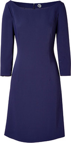 Ink Blue Naissa Dress - style: shift; neckline: slash/boat neckline; fit: tailored/fitted; pattern: plain; predominant colour: navy; occasions: evening, work, occasion; length: on the knee; fibres: polyester/polyamide - 100%; sleeve length: 3/4 length; sleeve style: standard; texture group: crepes; trends: glamorous day shifts; pattern type: fabric