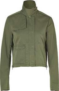 Desert Green Cotton Mauritius Jacket - pattern: plain; style: cropped; length: cropped; collar: high neck; predominant colour: khaki; occasions: casual; fit: straight cut (boxy); fibres: cotton - stretch; sleeve length: long sleeve; sleeve style: standard; texture group: cotton feel fabrics; collar break: high; pattern type: fabric