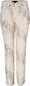 Ivory/Multi Silk Yogan Pants - style: peg leg; waist: mid/regular rise; predominant colour: ivory; occasions: casual, evening, occasion; length: ankle length; fibres: silk - 100%; texture group: structured shiny - satin/tafetta/silk etc.; fit: tapered; pattern type: fabric; pattern size: big &amp; light; pattern: patterned/print