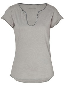 Stone Cotton T Shirt - pattern: plain; style: t-shirt; predominant colour: charcoal; occasions: casual; length: standard; neckline: scoop; fibres: cotton - 100%; fit: body skimming; sleeve length: short sleeve; sleeve style: standard; pattern type: fabric; texture group: jersey - stretchy/drapey