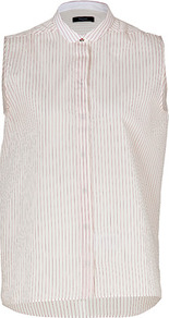 Pink/Multi Cotton Silk Sleeveless Shirt - neckline: shirt collar/peter pan/zip with opening; pattern: vertical stripes; sleeve style: sleeveless; style: shirt; predominant colour: white; secondary colour: pink; occasions: casual; length: standard; fibres: cotton - mix; fit: straight cut; sleeve length: sleeveless; texture group: cotton feel fabrics; pattern type: fabric; pattern size: standard