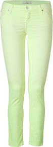 Neon Yellow Denim Pants - style: skinny leg; pattern: plain; pocket detail: traditional 5 pocket; waist: mid/regular rise; predominant colour: lime; occasions: casual; length: ankle length; fibres: cotton - stretch; texture group: denim; pattern type: fabric