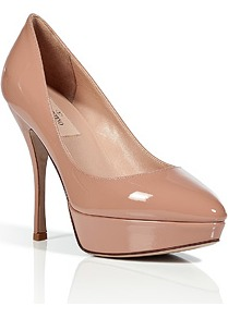 Soft Hazel Patent Leather Platform Pumps - predominant colour: nude; occasions: evening, work; material: leather; heel height: high; heel: platform; toe: pointed toe; style: courts; finish: patent; pattern: plain