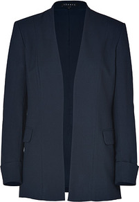 True Navy Rokel Blazer - pattern: plain; style: single breasted blazer; length: below the bottom; predominant colour: navy; occasions: evening, work; fit: tailored/fitted; fibres: viscose/rayon - stretch; sleeve length: long sleeve; sleeve style: standard; collar break: low/open; pattern type: fabric; texture group: woven light midweight