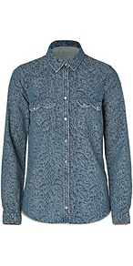 Blue Leopard Print Denim Shirt - neckline: shirt collar/peter pan/zip with opening; length: below the bottom; style: shirt; predominant colour: denim; occasions: casual; fibres: cotton - 100%; fit: loose; back detail: embellishment at back; sleeve length: long sleeve; sleeve style: standard; texture group: denim; pattern type: fabric; pattern size: standard; pattern: animal print; embellishment: studs