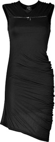 Black Asymmetrical Jersey Dress - neckline: v-neck; fit: tight; pattern: plain; sleeve style: sleeveless; style: bodycon; waist detail: fitted waist; bust detail: buttons at bust (in middle at breastbone)/zip detail at bust; predominant colour: black; occasions: evening; length: just above the knee; fibres: polyester/polyamide - 100%; sleeve length: sleeveless; texture group: jersey - clingy; pattern type: fabric