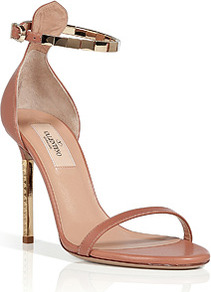 Soft Hazel/Gold Leather Sandals - predominant colour: camel; secondary colour: gold; occasions: evening, occasion; material: leather; heel height: high; ankle detail: ankle strap; heel: stiletto; toe: open toe/peeptoe; style: standard; finish: plain; pattern: plain; embellishment: chain/metal