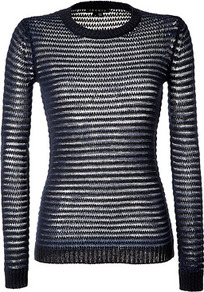 Deep Navy/Navy Cotton Camille Pullover - pattern: horizontal stripes; style: standard; predominant colour: navy; occasions: casual; length: standard; fibres: cotton - mix; fit: slim fit; neckline: crew; sleeve length: long sleeve; sleeve style: standard; pattern type: fabric; texture group: suede