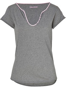 Heather Grey Multi Cotton T Shirt - pattern: plain; style: t-shirt; predominant colour: charcoal; occasions: casual; length: standard; neckline: scoop; fibres: cotton - 100%; fit: body skimming; sleeve length: short sleeve; sleeve style: standard; pattern type: fabric; texture group: jersey - stretchy/drapey