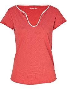 Pomegranate Cotton T Shirt - pattern: plain; style: t-shirt; predominant colour: true red; occasions: casual; length: standard; neckline: scoop; fibres: cotton - 100%; fit: body skimming; sleeve length: short sleeve; sleeve style: standard; pattern type: fabric; texture group: jersey - stretchy/drapey