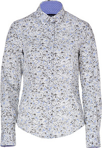 White/Light Blue/Black Cotton Flower Print Shirt - neckline: shirt collar/peter pan/zip with opening; style: shirt; predominant colour: pale blue; occasions: work; length: standard; fibres: cotton - 100%; fit: straight cut; sleeve length: long sleeve; sleeve style: standard; texture group: cotton feel fabrics; pattern type: fabric; pattern size: small &amp; busy; pattern: florals