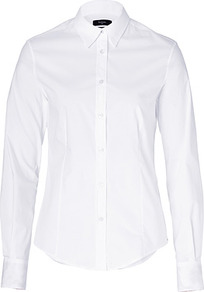 White Cotton Classic Shirt - neckline: shirt collar/peter pan/zip with opening; pattern: plain; style: shirt; predominant colour: white; occasions: work; length: standard; fibres: cotton - stretch; fit: tailored/fitted; sleeve length: long sleeve; sleeve style: standard; texture group: cotton feel fabrics; pattern type: fabric