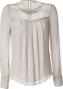 Sea Shell Sheered Top - neckline: round neck; pattern: plain; style: blouse; shoulder detail: contrast pattern/fabric at shoulder; predominant colour: stone; occasions: evening, work; length: standard; fibres: viscose/rayon - 100%; fit: straight cut; sleeve length: long sleeve; sleeve style: standard; texture group: sheer fabrics/chiffon/organza etc.; bust detail: tiers/frills/bulky drapes/pleats; pattern type: fabric; embellishment: lace