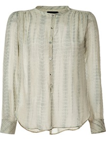 Grey Tie Dyed Tacko Silk Top - style: blouse; predominant colour: light grey; occasions: casual, evening; length: standard; neckline: collarstand; fibres: silk - 100%; fit: loose; shoulder detail: flat/draping pleats/ruching/gathering at shoulder; sleeve length: long sleeve; sleeve style: standard; texture group: silky - light; pattern type: fabric; pattern size: small &amp; light; pattern: patterned/print