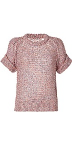 Red Multi Cotton Blend Knit Top - sleeve style: raglan; length: below the bottom; occasions: casual; style: top; fibres: cotton - mix; fit: body skimming; neckline: crew; predominant colour: multicoloured; sleeve length: half sleeve; texture group: knits/crochet; pattern type: knitted - big stitch; pattern size: standard; pattern: patterned/print